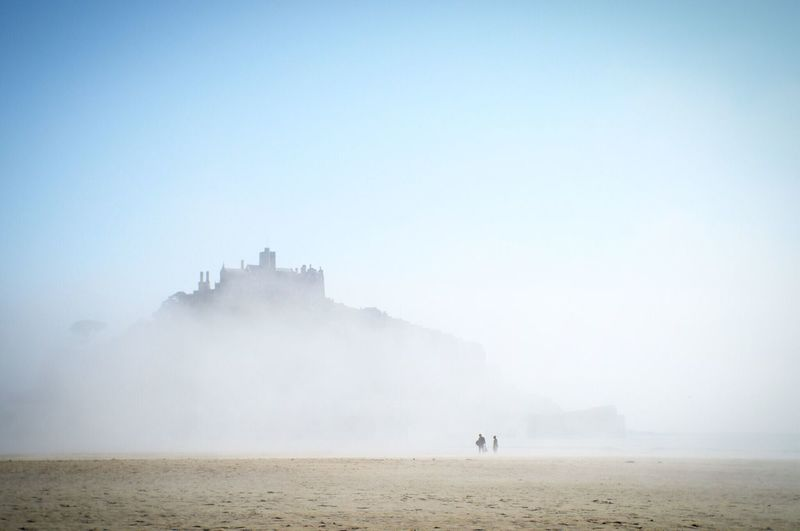 Foggy st michaels mount against sky