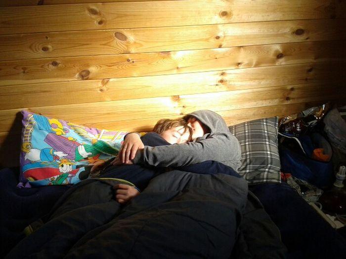 Original Mother And Son Sleeping Camping Lighting Sunrise