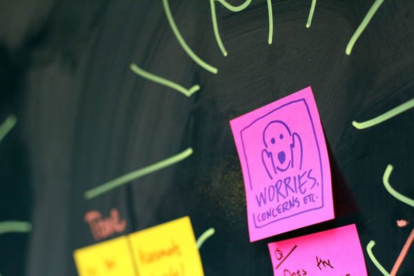 Feedback wall with sticky notes on black board Agility Office Teamwork Wall Agile Blackboard  Close-up Communication Day Feedback Goal Indoors  No People Office Space Post-it Postits Questions Retrospective Scrum Stickynote Stickynotes Text Worries