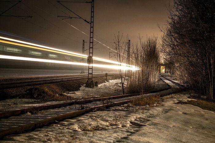 Sbahn Train Nightphotography Taking Photos Germany Late Night Light In The Darkness