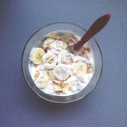 Food Yogurt Vanilla Banana Cornflacks