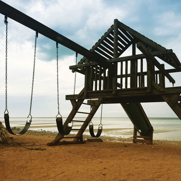 Sky Beach Day Sea Sand Outdoors Built Structure No People Cloud - Sky Tranquility Nature Water Architecture Tire