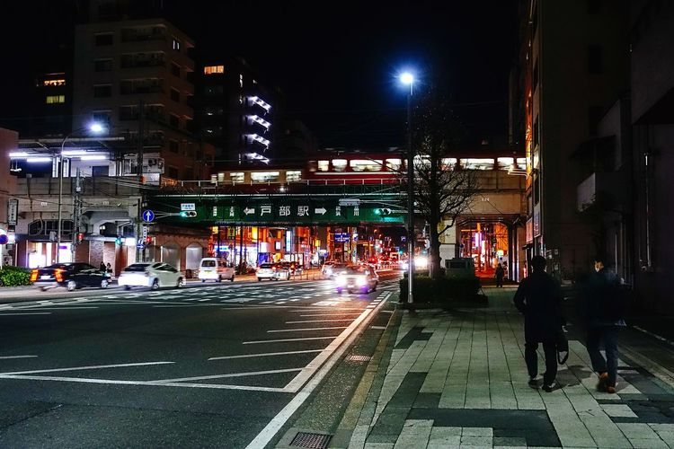 City Life Go To Home Two People Walking Street Light City Street City Night Lights Winter Night Febrary 2018 Yokohama, Japan Yokohama Night Illuminated Building Exterior Architecture Built Structure City Street Transportation Street Light Men People