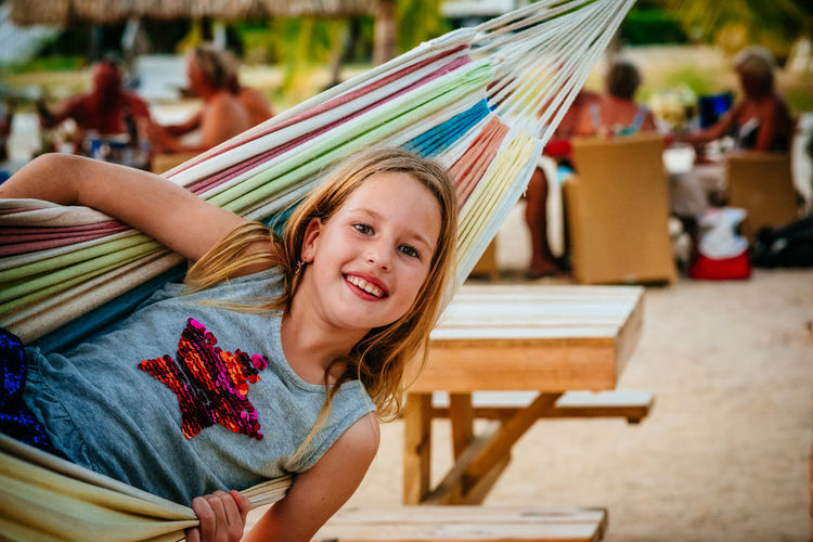 Portrait Of Girl In Hammock