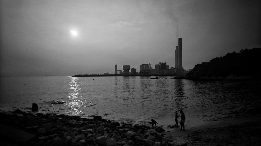 Sea Seaside Beach Factory Sunset Sunset Silhouettes EyeEm Bnw NEM Black&white AMPt - Street AMPt XperiaZ5 Sony Xperia Snapshots Of Life Dailylife Dailyphoto Bnw_captures Black And White Blackandwhite Blackandwhite Photography Monochrome Bnw_collection Bw_collection Noiretblanc Streetphotography Lensculture
