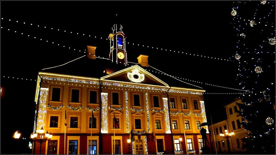 Architecture Building Exterior Built Structure Christmas Decoration City Clear Sky Illuminated Low Angle View Night No People Outdoors Sky
