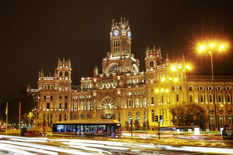 Architecture Building Exterior Bus City Classical Architecture Clock Tower Cold Temperature Façade History Illuminated Lantern Madrid Night Nightphotography Old Buildings Outdoors Plaza De Cibeles Madrid Real Madrid Roundabout SPAIN Street Travel Travel Destinations