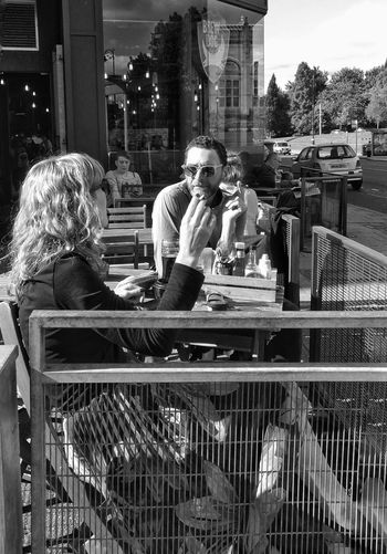 Two People Sitting Adults Only Outdoors Real People Togetherness Blackandwhite Photography Streets Of Glasgow Streetphoto_bw