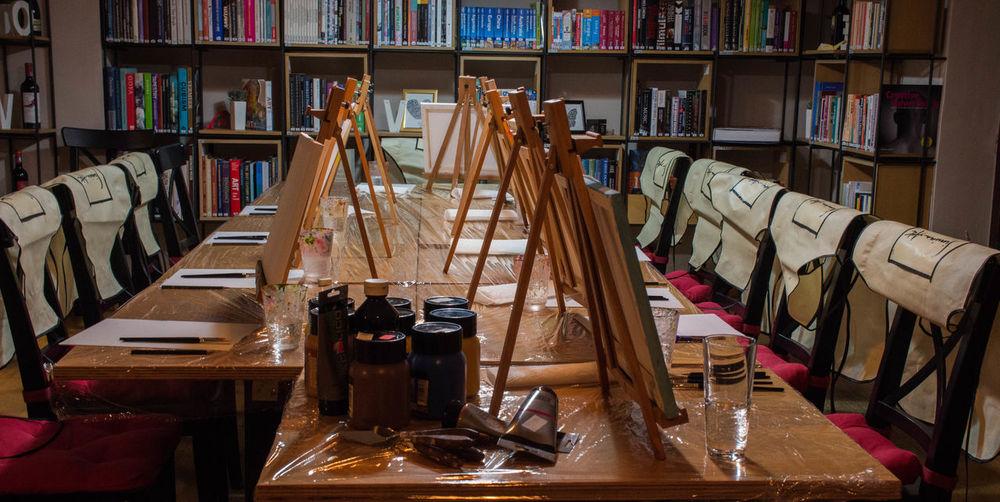 Tilt image of books on table