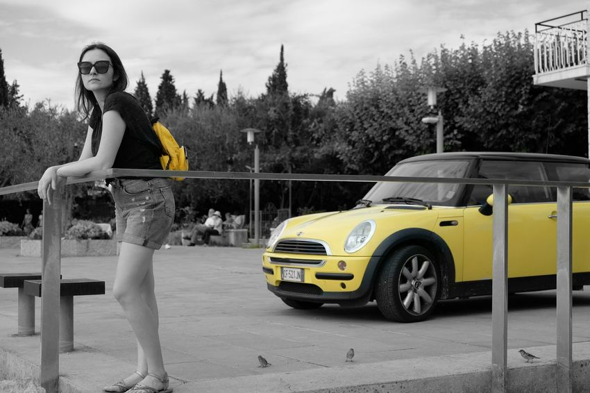 Martyna needed a car that would match her backpack. This one was just perfect. Paint The Town Yellow // Real People One Person Lifestyles Car Full Length Young Adult Leisure Activity Tree Outdoors Fashion Transportation Portrait Young Women Looking At Camera Day Beautiful Woman Yellow Women Nature Sky Adult People FUJIFILM X-T10 XF18-55mmF2.8-4 R LM OIS F/3.6 Iso 200 via Fotofall