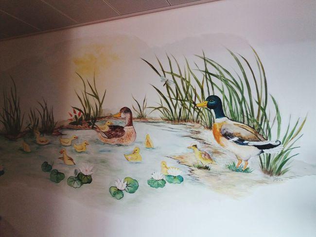 Beautiful Krankenhausbesuch Wandmalerei Duck Family Water Animals In The  Wild No People Indoors Sand Dune Nature