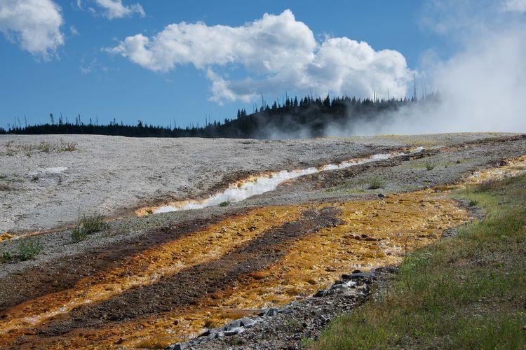 Smoke Emitting From Field At Yellowstone National Park