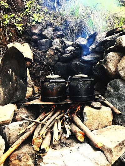 Huzur Kutsaltoprak Tunceli Duzgunbaba Top Of The Mountain Tea Time Fire Tea Nature Day Burning No People Outdoors Heat - Temperature High Angle View Preparation  Flame Camping Stove