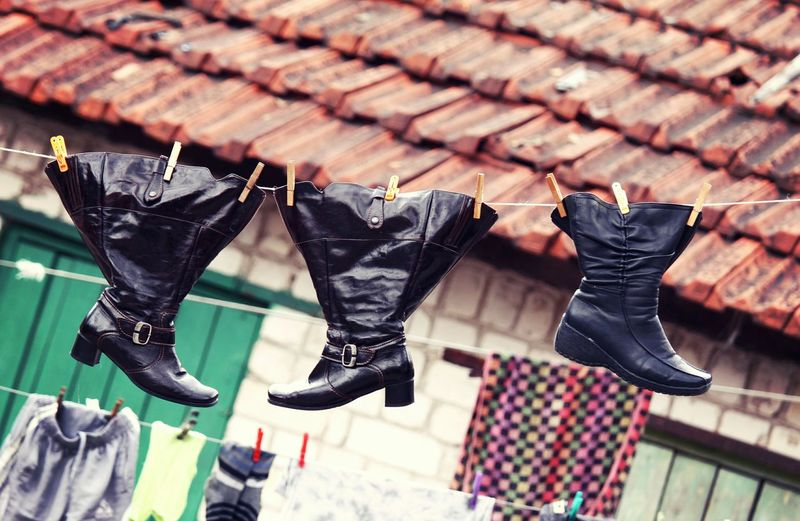 Hanging Clothing Outdoors Shoes Footwear Clothesline Funny Poverty Old Weathered Chores Wet Lieblingsteil Stories From The City