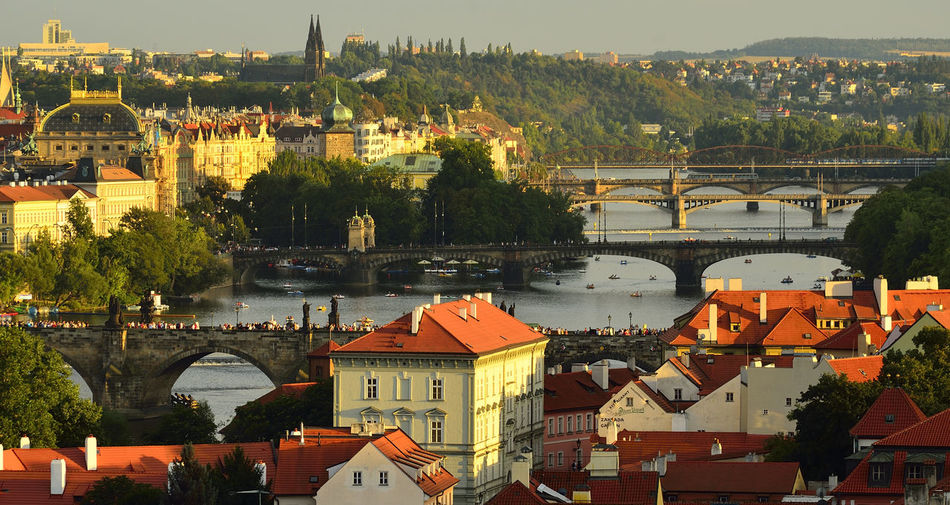 High angle view of bridges over vltava river in city