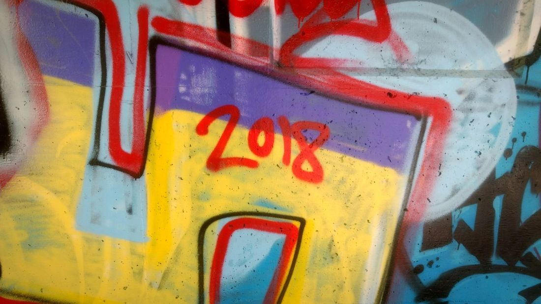 2018 2018 2018 Year 2018 EyeEm Year Time Date Timeline Calendar 2018 Day Light Graffiti Graffiti Art Street Art Street Art/Graffiti Painted Image Multi Colored Backgrounds Full Frame Ghetto Textured  Yellow Abstract Paint Street Art HUAWEI Photo Award: After Dark #urbanana: The Urban Playground