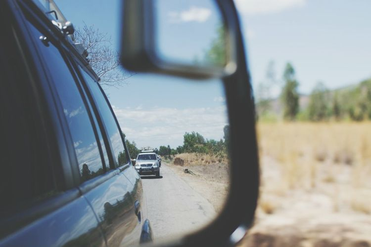 The Drive Car Jeep Freeroad Roadtrip Road Side-view Mirror Reflection Driving Vehicle Mirror Land Vehicle Transportation Nature Outdoors Tree Road Off Road Off-Road Off-road Vehicle 4x4 Four Wheel Drive Finding New Frontiers EyeEmNewHere