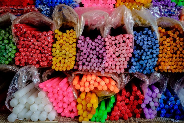 High angle view of colorful candies for sale in shop