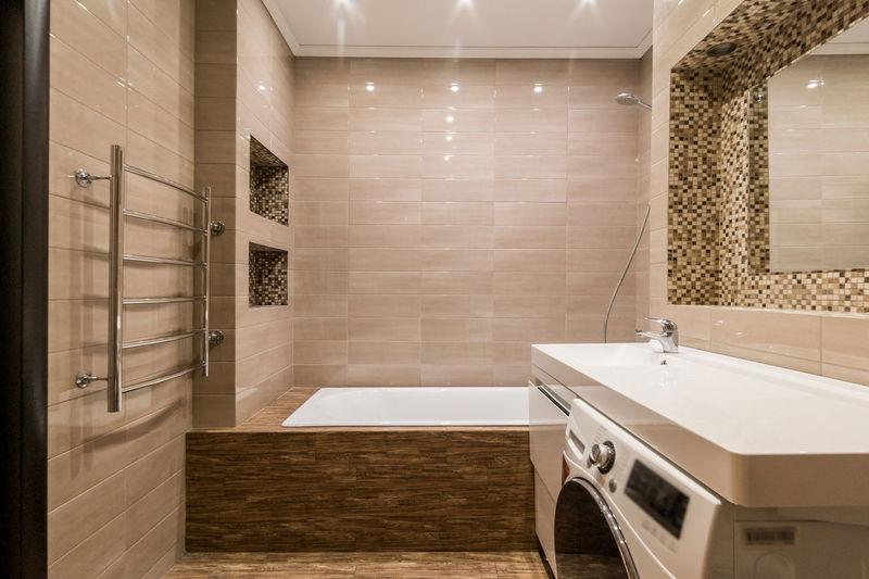Interior room apartment. standard repair decoration in hostel. bathroom and toilet