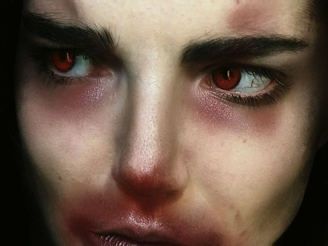 Hard Portrait Of A Woman Sick Red Depression Makeup Makeupartist Human Eye Young Women Portrait Human Face Halloween Looking At Camera Drop Women Eye Iris - Eye Vision