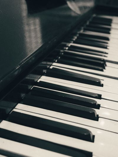 Detail shot of piano keys