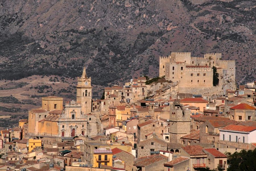 Castle Architecture Building Building Exterior Built Structure Caccamo Caccamo Castle City Cityscape Community Day High Angle View History House Mountain Nature No People Outdoors Residential District The Past Town TOWNSCAPE Travel Destinations Tree