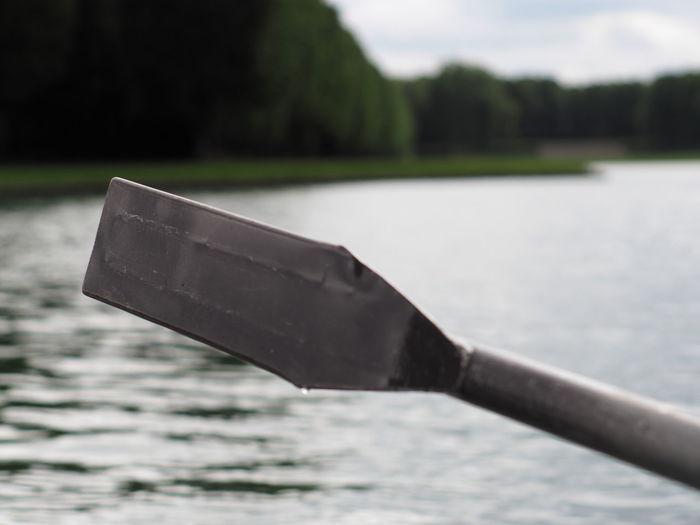 Close-up of boat on lake
