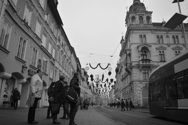 Architecture Building Exterior City Graz Holidays Street The Culture Of The Holidays Transportation Dramatic Angles Monochrome Photography