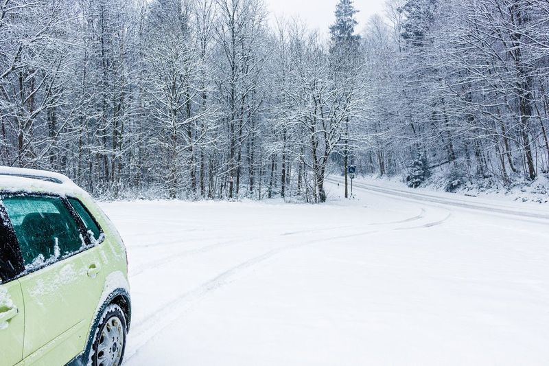 Driving in the snow. Winter Snow White Color Journey Land Vehicle No People Nature Tire Track Snowing Tree Outdoors Day Sky Shades Of Winter