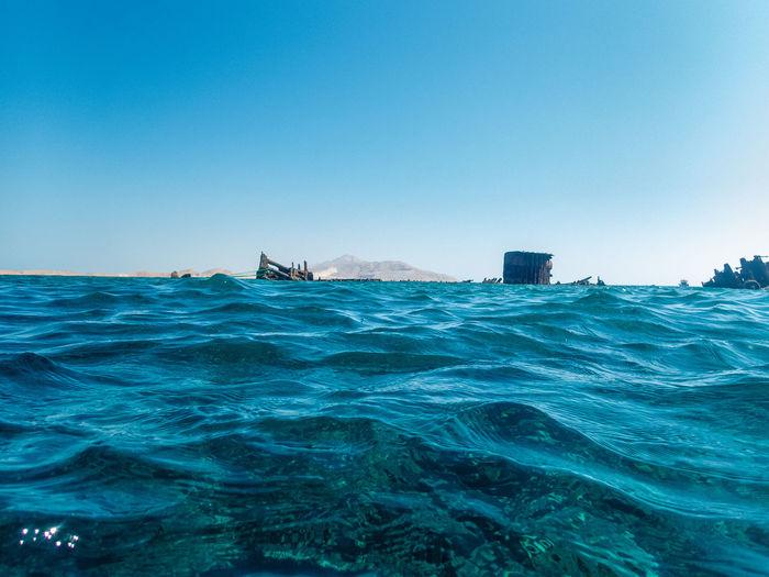 Remains of a sunken ship near tiran island, red sea, sinai peninsula