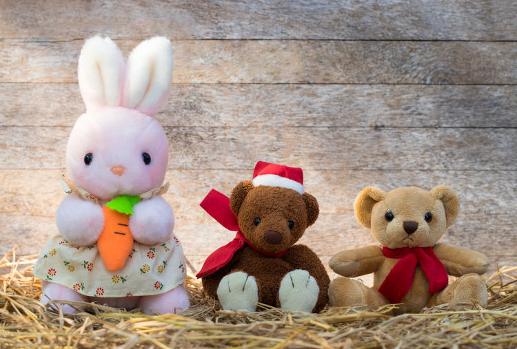 Animal Animal Representation Art And Craft Celebration Easter Easter Bunny Group Of Objects Holiday Indoors  Mammal No People Rabbit - Animal Representation Softness Still Life Stuffed Toy Teddy Bear Toy Wood - Material