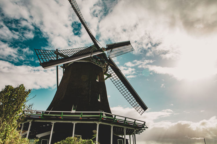 Renewable Energy Wind Power Alternative Energy Wind Turbine Sky Cloud - Sky Traditional Windmill Low Angle View Architecture Built Structure Rural Scene Outdoors Day Zaanse Schans Niderland Holland