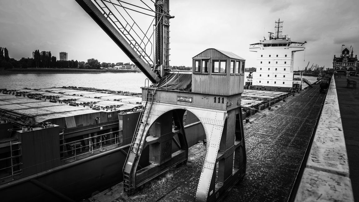 Architecture Built Structure Sky Transportation Water EyeEm Gallery Outdoors Day No People Sea Nautical Vessel City Nature Outdoor Iron - Metal Steel Structure  Quay Cityscape Crane Crane - Construction Machinery Schelde Monochrome Monochrome _ Collection Monochrome Photography Black And White Photography