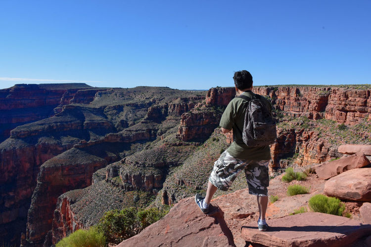 Rear View Of Man Standing Against Grand Canyon