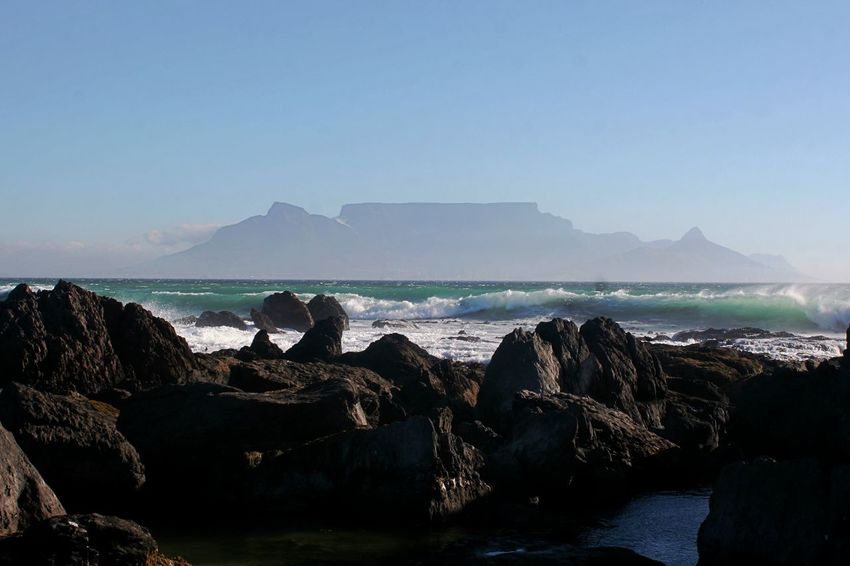 Table Mountain Beauty In Nature Clear Sky Day False Bay Geology Horizon Over Water Mountain Nature No People Outdoors Physical Geography Rock - Object Rock Formation Scenics Sea Sky Tranquil Scene Tranquility Water