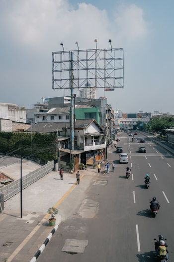 View of city street against sky