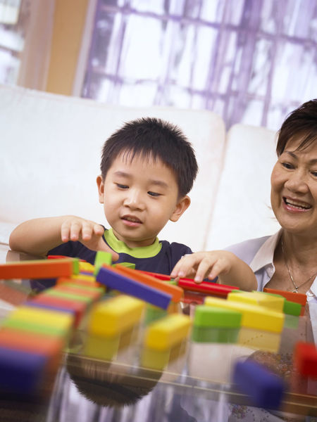 grandmother and grandson playing colorful wooden block At Home Grandmother And Grandson Stack Wood Blocks Bonding Boys Childhood Colorful Cute Day Elementary Age Front View Happiness Home Interior Indoors  Learning Leisure Activity Lifestyles Playing Real People Togetherness Toy Toy Block Two People Young Adult