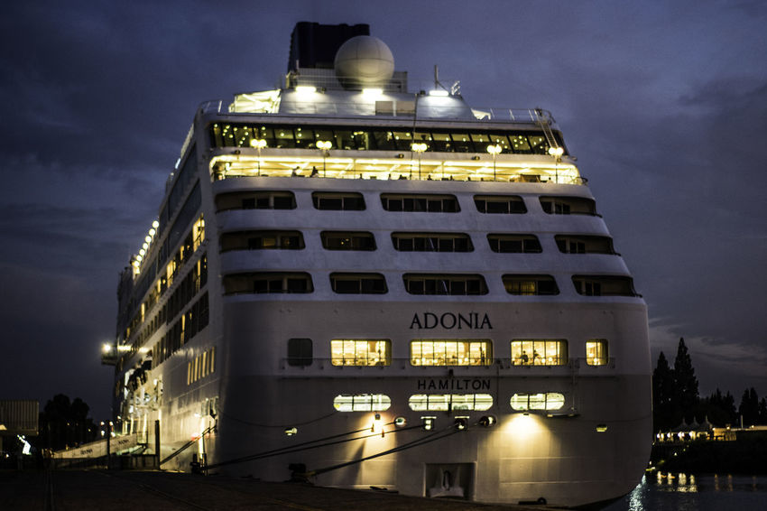 Ship Night Building Exterior Architecture Built Structure Low Angle View Outdoors No People Sky Tranquility