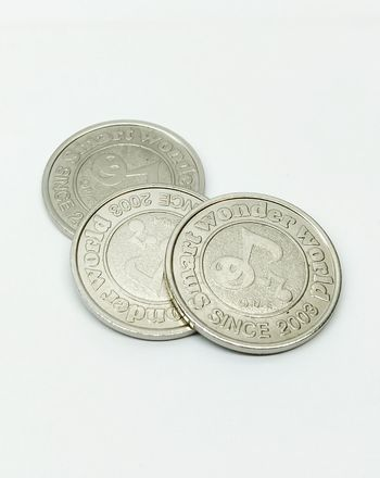 Toys token Token Isolated White Background Finance Coin Wealth Currency Text Savings Studio Shot White Background