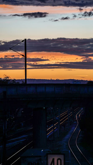Train against sky during sunset