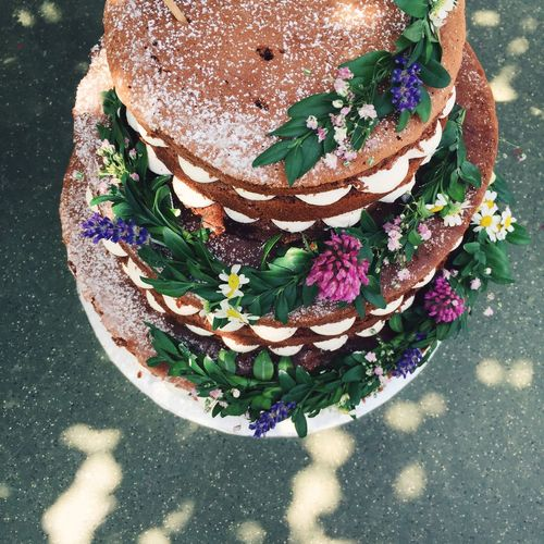 High angle view of wedding cake on table