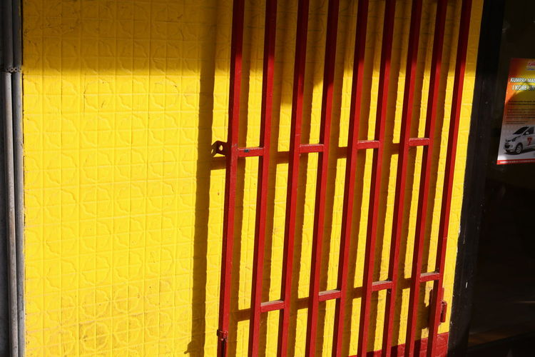 Building Exterior Close-up Day No People Red Gate Sunny Day Yellow Yellow Wall