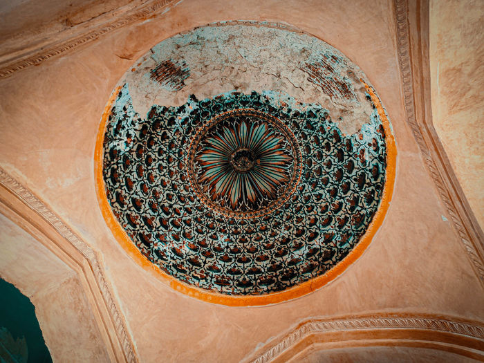 Low angle view of ornate ceiling