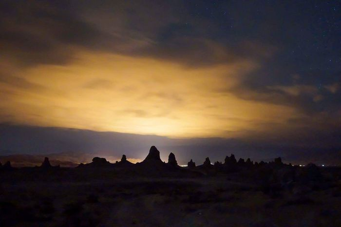 Alien worlds await you just a roadtrip away 👽 Trona Pinnacles is a wild place & true testament to earth's diversity. It's pillars are the remnants of an ancient sea. It's spacey features provide some stellar stargazing. Cosmonaut Trona Pinnacles Mojave Desert Camping Sony A6000 Desert Landscape Astrophotography Spaced Out