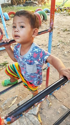 Asian boy play at the playground. Childhood Playground Outdoor Play Equipment Child Playing One Person Outdoors Fun Happiness Day Motion People Climbing Boy ASIA Asian  Asian Boy Play Cute Funny