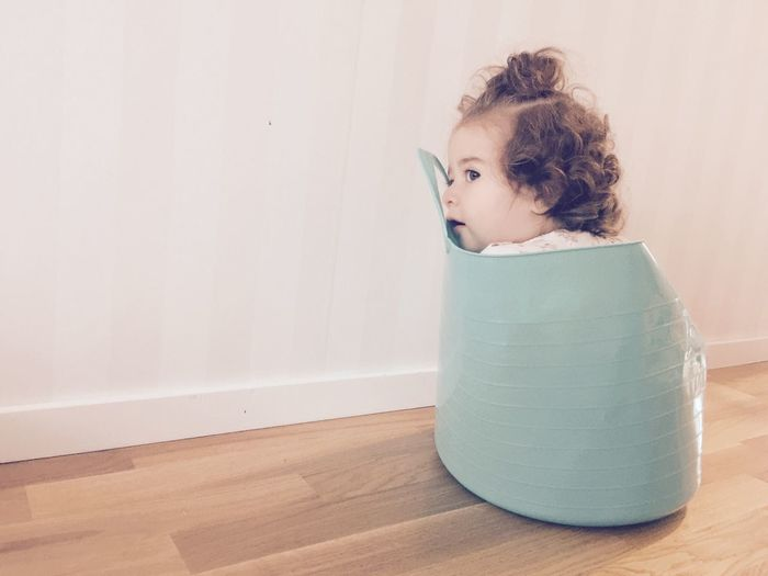Baby ❤ in Laundry Basket Babygirl Laundrytime Laundry Package Childhood Indoors  One Person Home Interior Real People Select Collection Playing Hardwood Floor Day People