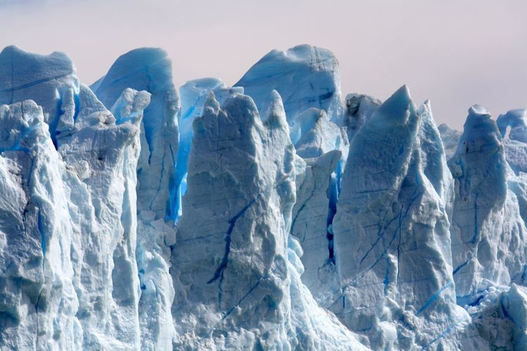 Close up of steep spectacular ice formation