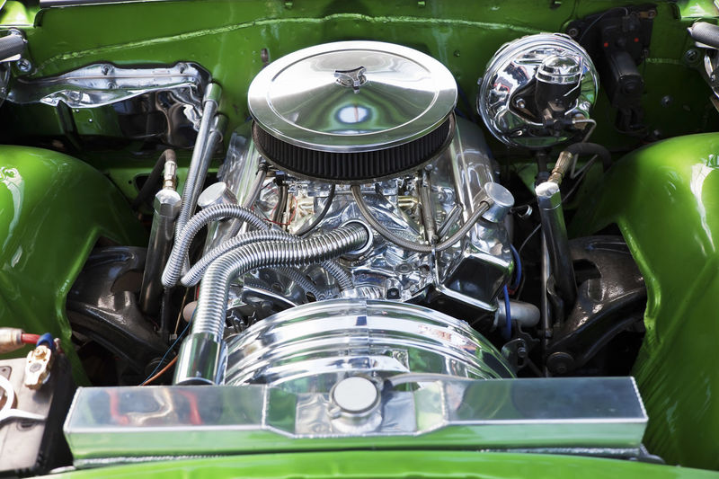 High angle view of vintage car engine