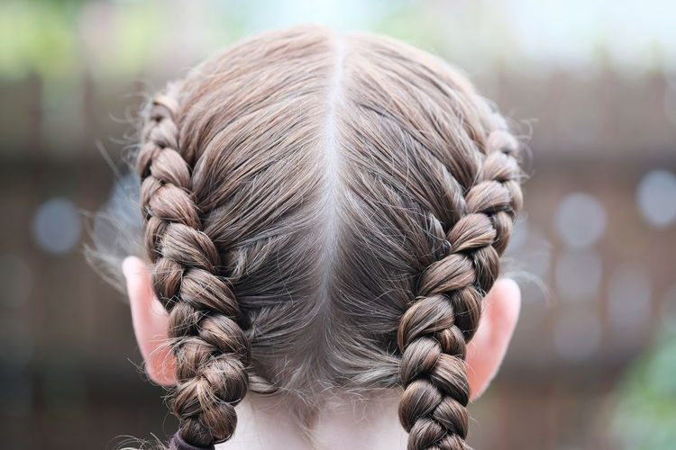 Braided Braided Hair Brown Hair Child Childhood Close-up Day Focus On Foreground Hair Hair Color Hairstyle Headshot Human Hair One Person Portrait Real People Rear View