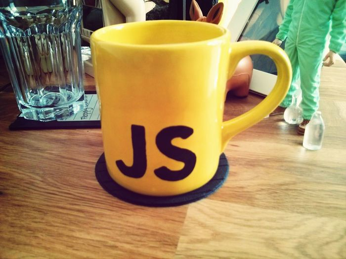 Starting the week with a Coffee using my new Self-painted Javascript Cup
